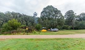 Tent and cars at Tom Groggin campground, Koscisuzko National Park. Photo: Murray Vanderveer