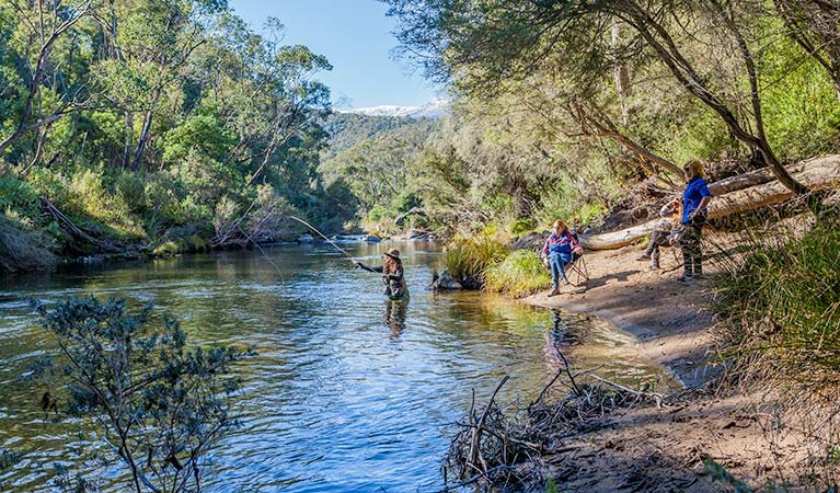 Fly-fishing at Tom Groggin campground, Koscisuzko National Park. Photo: Murray Vanderveer/NSW Government