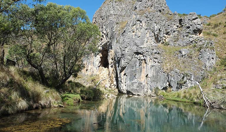 Cave and creek at Blue Waterholes, Kosciuszko National Park. Photo: Elinor Sheargold/OEH
