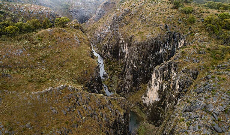 Aerial view of Clarke Gorge, near Blue Waterholes, in the High Plains area of Kosciuszko National Park. Photo: Robert Mulally/DPIE