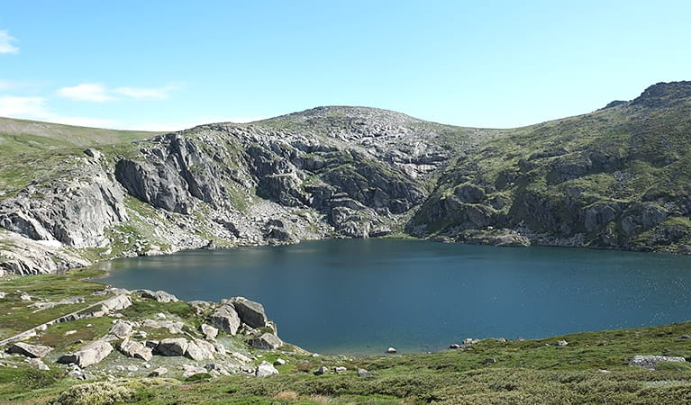 Blue Lake, on Main Range walk in Kosciuszko National Park. Photo: E Sheargold/OEH