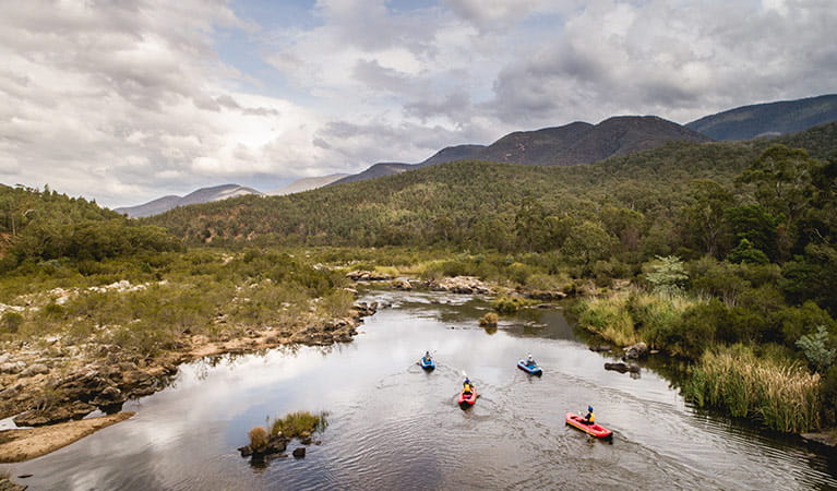 Aerial view of kayakers and canoeists paddling lower Snowy River, Kosciuszko National Park. Photo: Robert Mulally/DPIE