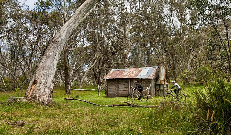 Mountain bikers pass Cascade Hut, Kosciuszko National Park. Photo: Murray Vanderveer