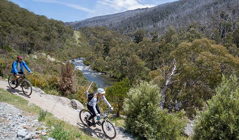 A man and woman on mountain bikes, Thredbo Valley track, Kosciuszko National Park. Photo: Boen Ferguson