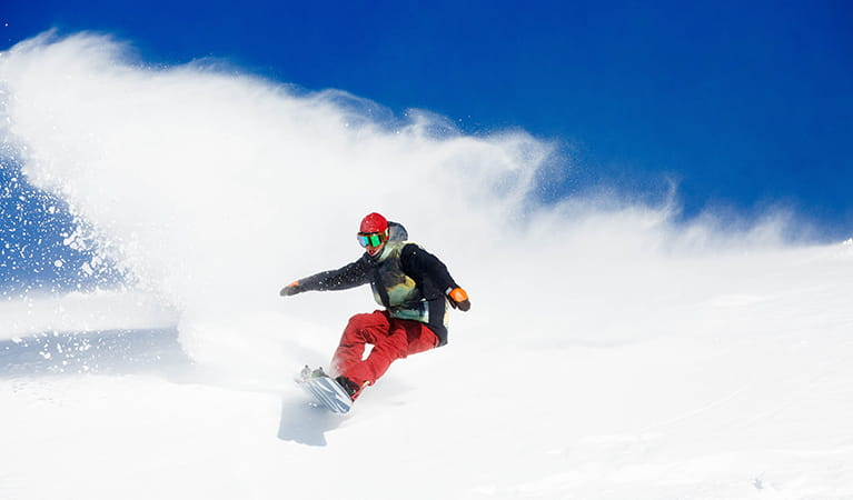 A snowboarder kicks up snow while descending the slopes at Thredbo, Kosciuszko National Park. Photo: Thredbo Resort