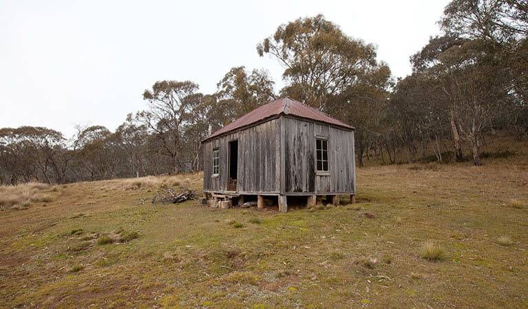 Exterior of Witzes Hut, built in 1952, northern Kosciuszko National Park. Photo: Murray Vanderveer/OEH