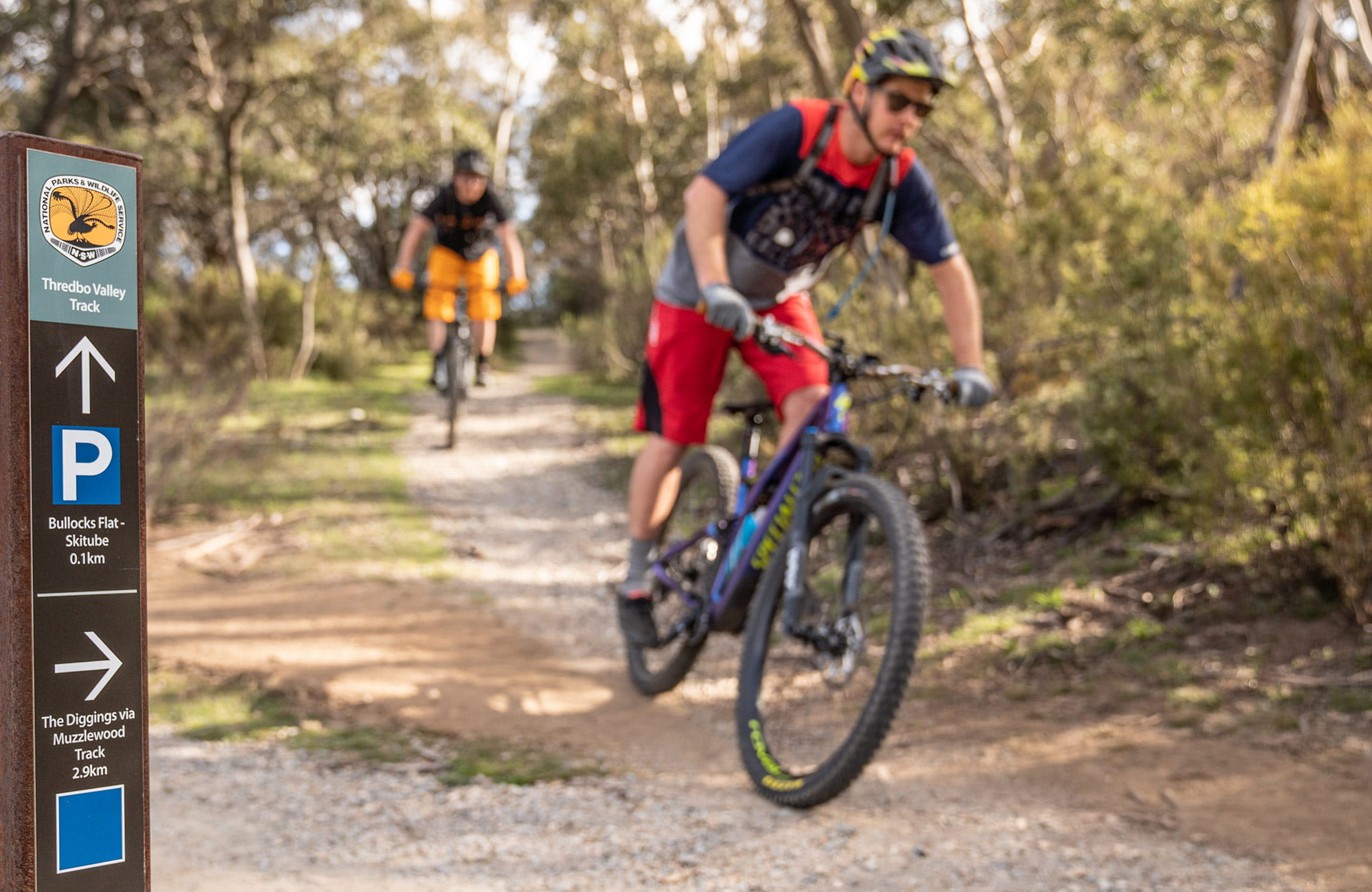 Two mountain bike riders cycle pass a sign at the junction of Muzzlewood and Thredbo Valley tracks, Kosciuszko National Park. Photo: Robert Mulally/DPIE
