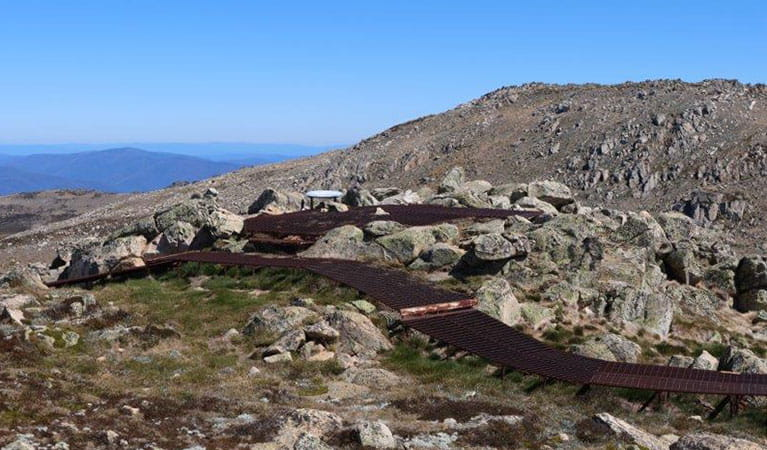 The winding metal mesh path to Cootapatamba lookout in Kosciuszko National Park. Photo: Luke McLachlan © DPIE