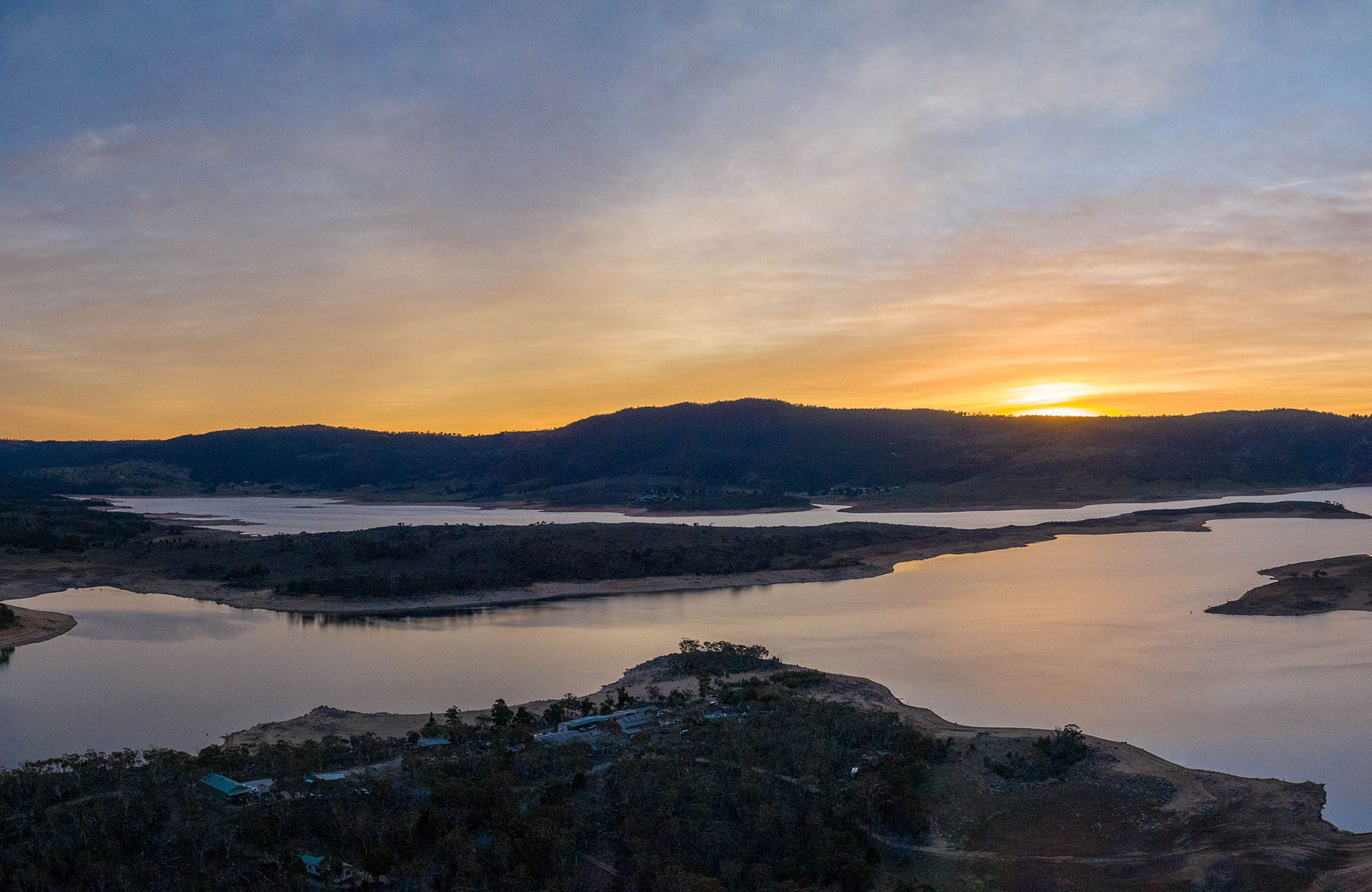 Aerial view of Lake Jindabyne at sunset. Photo and © Murray Vanderveer