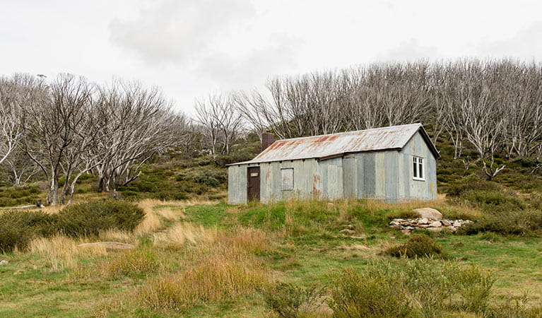 Exterior of White's River Hut along Schlink Pass Road, Kosciuszko National Park. Photo: John Spencer/OEH