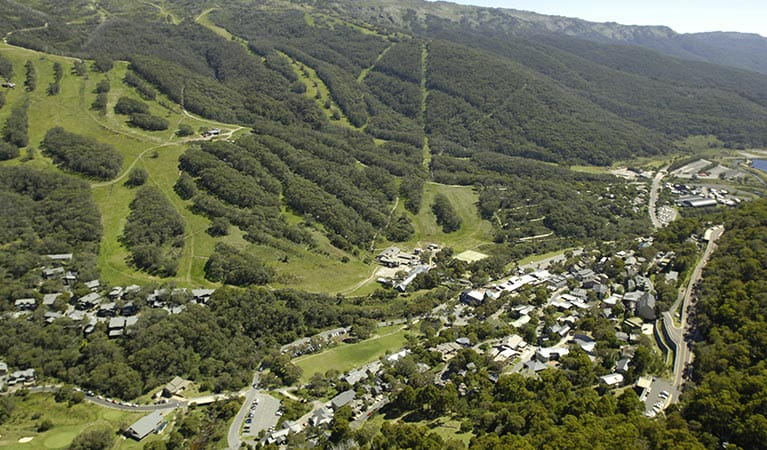 Aerial view of Thredbo village in summer, looking east. Photo: Thredbo Resort