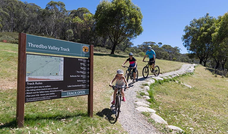 A young child and parents mountain bike downhill at the start of Thredbo Valley track, Kosciuszko National Park. Photo: Thredbo Resort