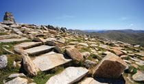 Stone steps lead up to Mount Kosciuszko summit lookout, in Kosciuszko National Park. Photo: Elinor Sheargold © DPIE