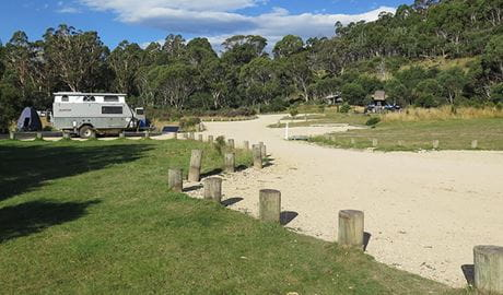 Camper trailer at Ngarigo campground, Kosciuszko National Park. Photo: E Sheargold/OEH.