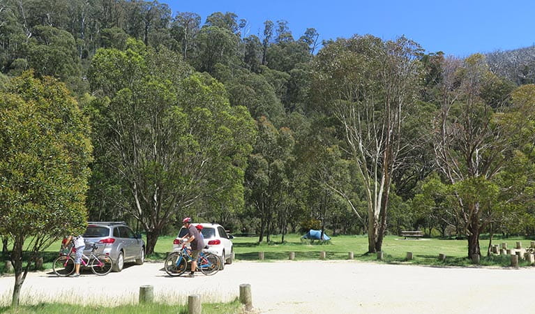 Cyclists at Ngarigo campground, Kosciuszko National Park. Photo: E Sheargold/OEH.