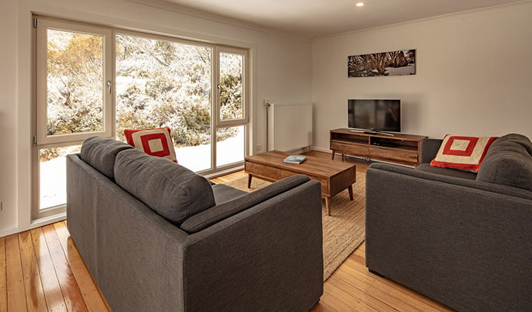Lounge room in Numbananga Lodge, Kosciuszko National Park. Photo: Murray Vanderveer/OEH