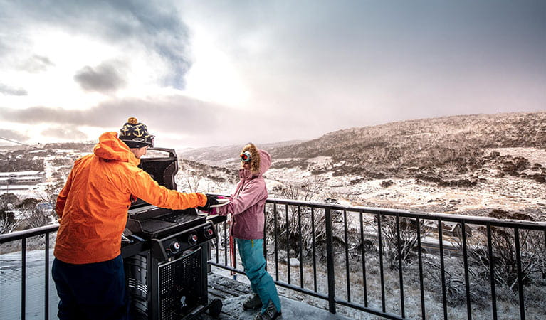 Gas barbecue on balcony, Numbananga Lodge, Kosciuszko National Park. Photo: Murray Vanderveer/OEH