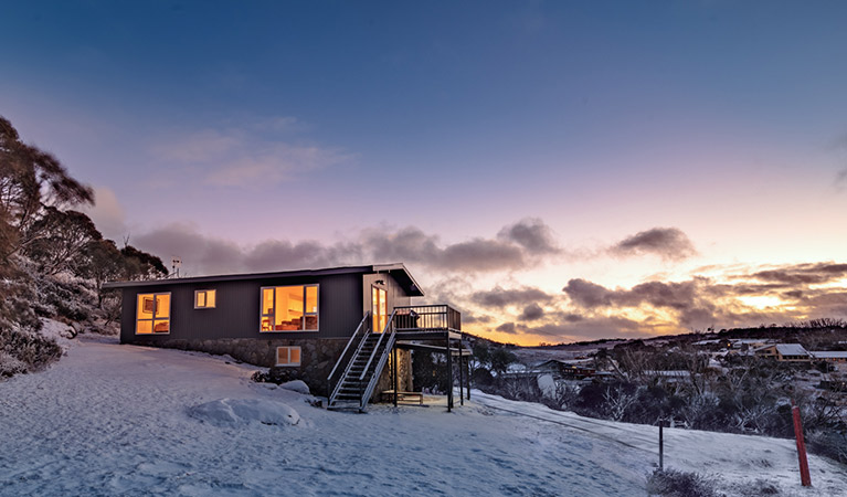 Exterior of Numbananga Lodge at night, Kosciuszko National Park. Photo: Murray Vanderveer/OEH