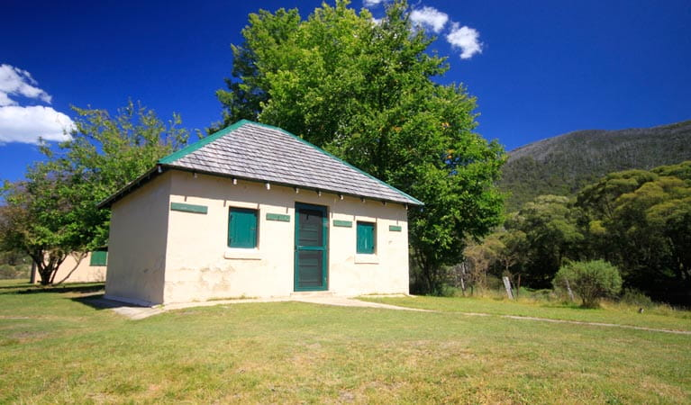 Exterior of historic Bullocks Hut, near Bullocks Flat, in Kosciuszko National Park. Photo: Elinor Sheargold/DPIE