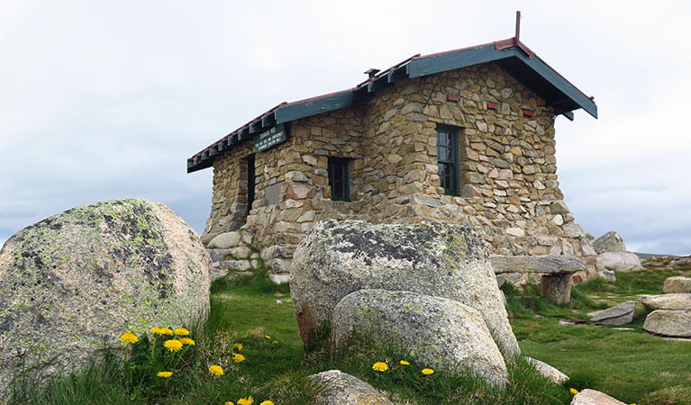 View of historic stone hut set in alpine grassland, with large boulders and wildflowers in the foreground. Photo: Stephen Townsend © DPIE