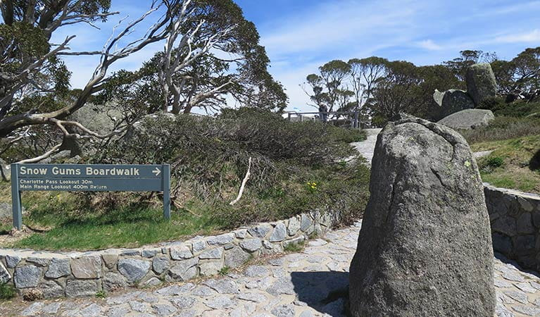 A sign at Kosciuszko Road directing to Charlotte Pass lookout and Snow Gums boardwalk, Kosciuszko National Park. Photo: Elinor Sheargold/DPIE