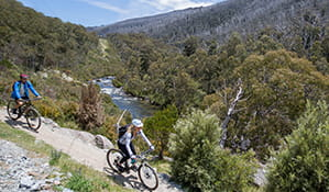 A man and woman bike ride along Thredbo Valley track beside the Thredbo River, in Kosciuszko National Park. Photo: Boen Ferguson/DPIE