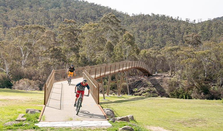 Two mountain bike riders cross a bridge from Thredbo Valley track, in Kosciuszko National Park, to Gaden Trout Hatchery. Photo: Robert Mulally/DPIE