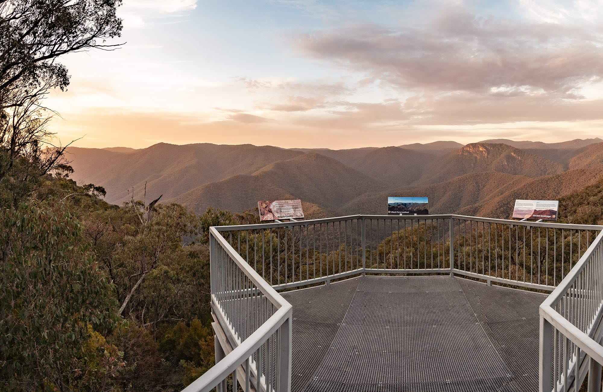 View of metal walkway at Black Perry lookout at sunrise, Kosciuszko National Park. Photo: Robert Mulally/OEH