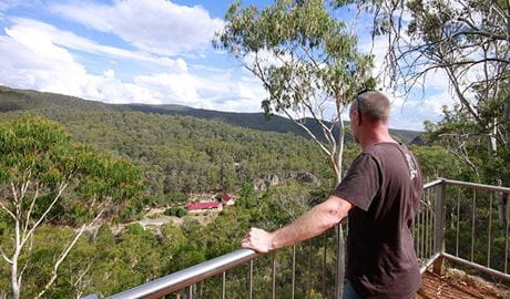 Bluff lookout looks over Yarrangobilly Caves House, Kosciuszko National Park. Photo: E Sheargold/OEH