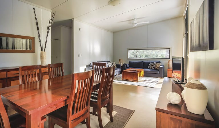 Living and dining room at Lyrebird Cottage, Kosciuszko National Park. Photo: Murray Vanderveer