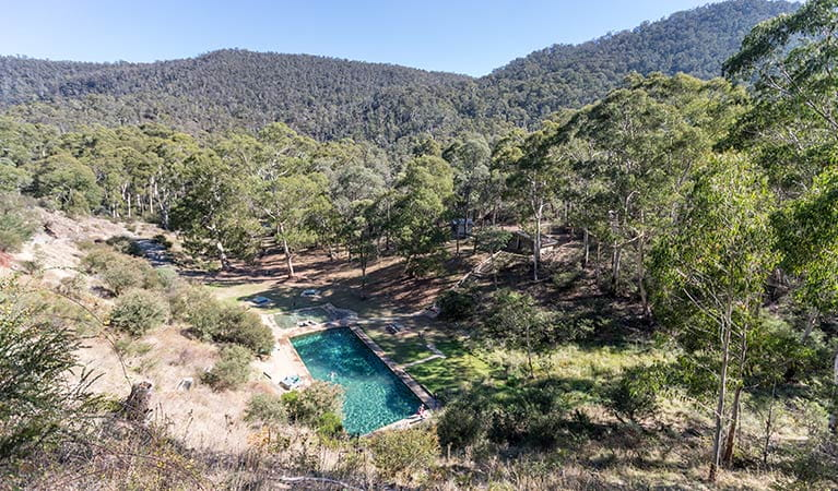 View of the thermal pool along Thermal Pool walk, Kosciuszko National Park. Photo: Boen Ferguson/OEH.