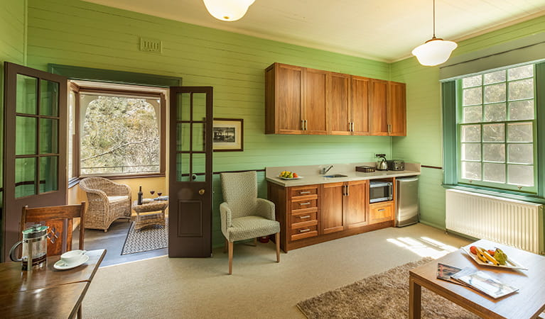 First floor kitchenette at Yarrangobilly Caves House 1917 section, Kosciuszko National Park. Photo: Murray Vanderveer/OEH