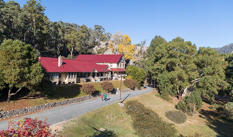 Aerial view of Yarrangobilly Caves House, Kosciuszko National Park. Photo: Boen Ferguson/OEH.