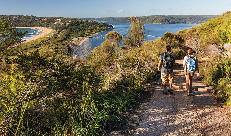 Walkers descending the track from Barrenjoey Head in Ku-Ring-Gai Chase National Park. Photo: D Finnegan/OEH