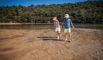 Children looking for soldier crabs on the sand at The Basin, Ku-ring-gai Chase National Park. Photo: David Finnegan © OEH