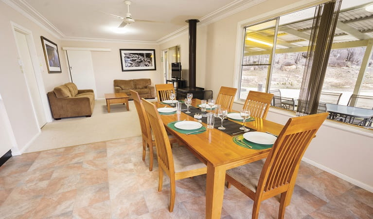 Lavender Vale Cottage dining room, Kwiambal National Park. Photo: Simone Cottrell/OEH