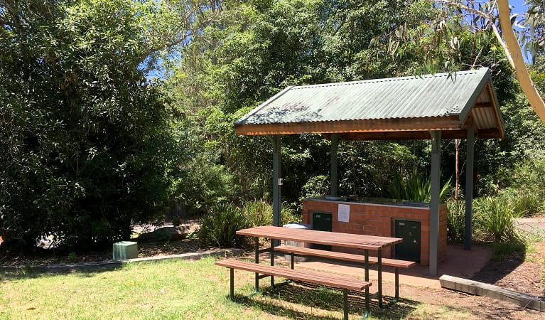 Barbecue facilities and picnic table at Lane Cove Holiday Park. Photo: Claire Franklin