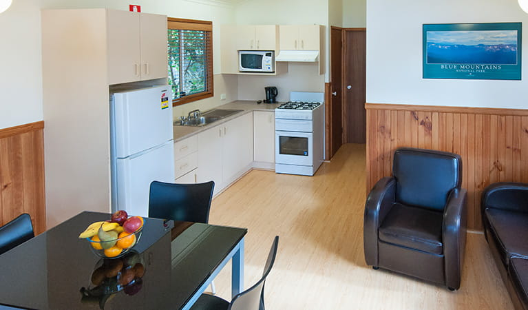 Kitchen and dining area at Lane Cove Holiday Park – cabins, Lane Cove National Park. Photo: Bob Fowler