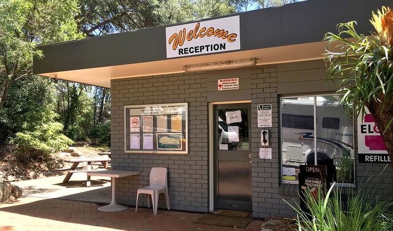 Reception kiosk at Lane Cove Holiday Park in Lane Cove National Park. Photo: Claire Franklin/OEH
