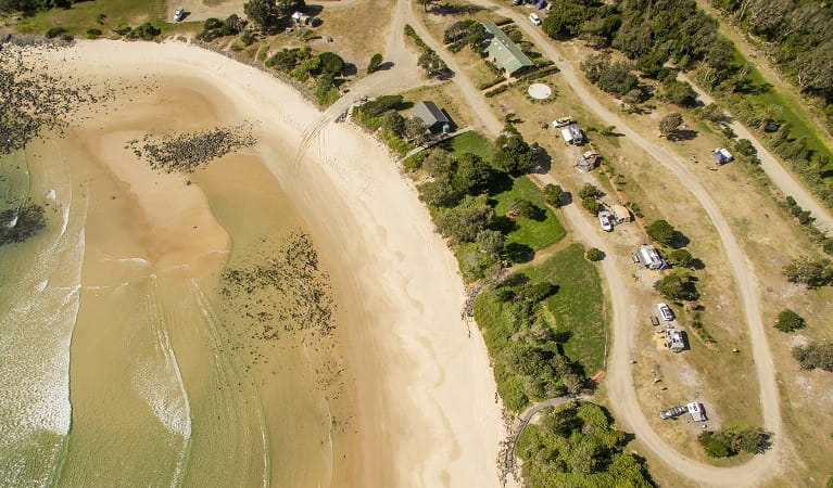 An aerial view of Point Plomer campground, Limeburners Creek National Park. Photo: John Spencer/OEH