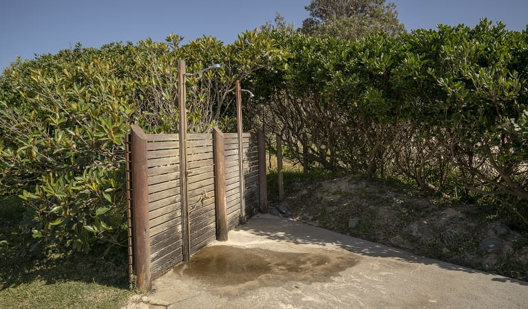 Outdoor shower facility at Point Plomer campground, Limeburners Creek National Park. Photo: John Spencer/OEH