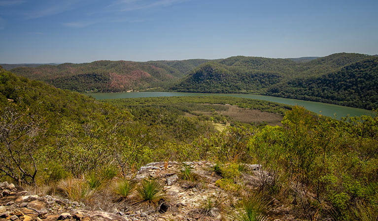 The view of the Hawkesbury River from Canoelands Ridge horse riding trail in Marramarra National Park. Photo: John Spencer © DPIE