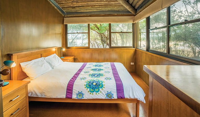 Double bedroom in Myer House, Mimosa Rocks National Park. Photo: John Spencer/OEH