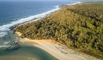 Aerial image of the beach at Mimosa Rocks National Park. Photo: John Spencer/OEH