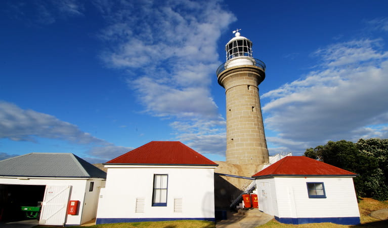 2 red-roofed, white buildings in front of Montague Island Lighthouse, Montague Island Nature Reserve. Photo: Stuart Cohen/OEH