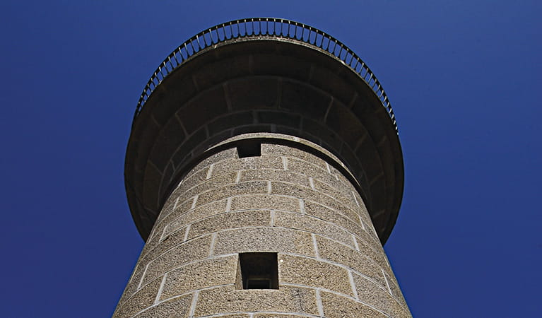 Looking up at Montague Island Lighthouse from below, Montague Island Nature Reserve. Photo: Stuart Cohen/OEH