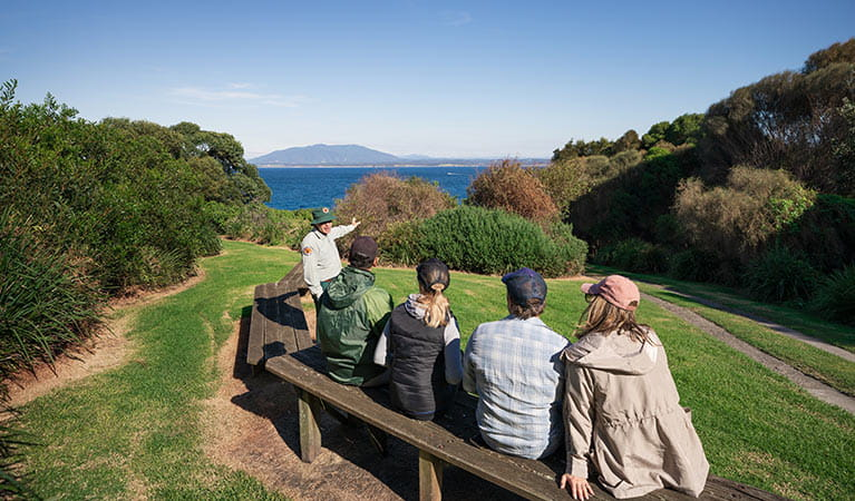 A ranger guide talks to 4 people sitting on a bench at Montague Island Nature Reserve. Photo: Daniel Tran/OEH