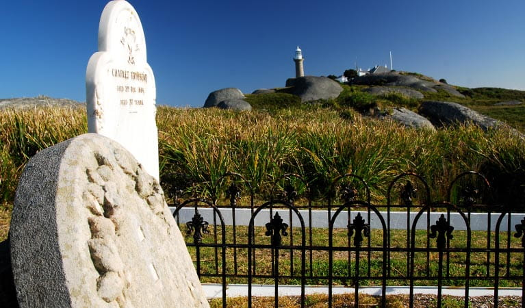 Gravestones at cemetery below the lighthouse, on Montague Island Nature Reserve. Photo: Stuart Cohen/OEH