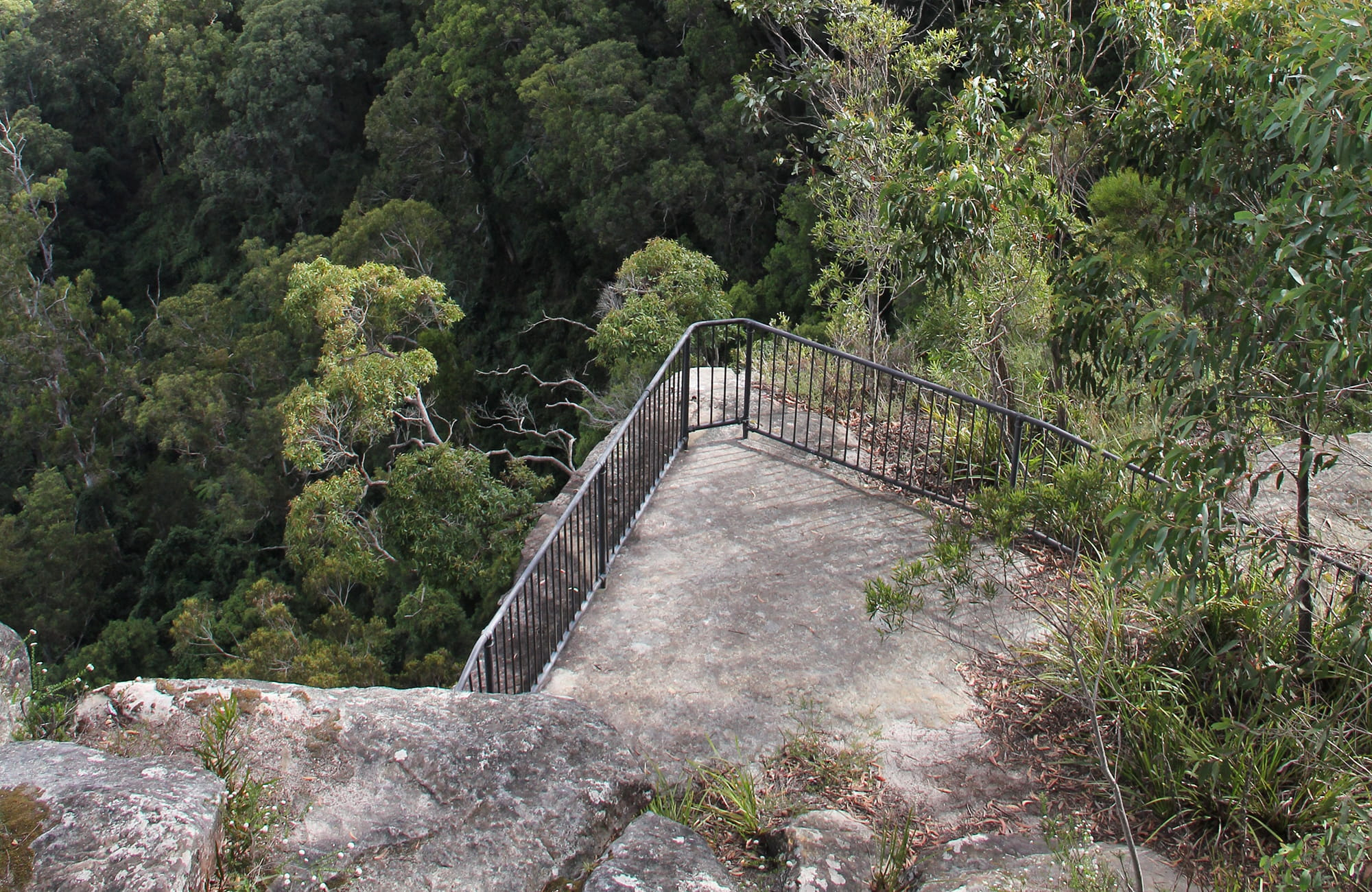 View from above of Grand Canyon lookout platform and surrounding bushland. Photo: John Yurasek/OEH.