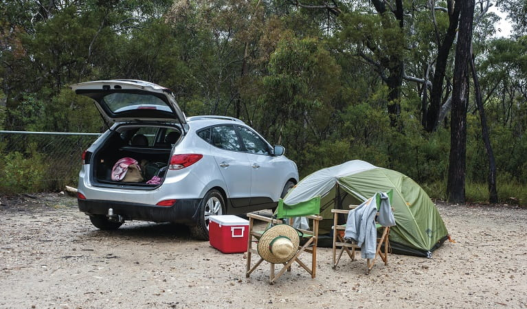 Car and camping set up at Gambells Rest campground. Photo: Michael Van Ewijk/OEH